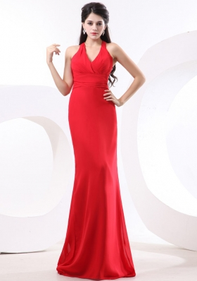 Halter Brush Train Red Column Prom Dress