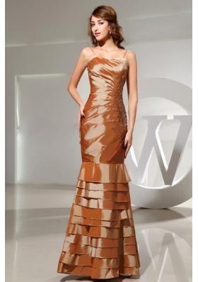 Mermaid Beading Spaghetti Straps Brown Prom Dress