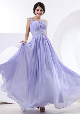 Bateau Beading Lilac Prom Dress Ruch Floor-length