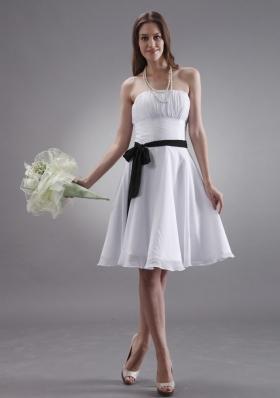 Black Sash Knee-length White Bridesmaid Dresses