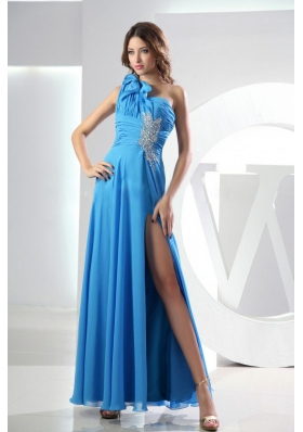 Beading Baby Blue Prom Dress One Shoulder Empire