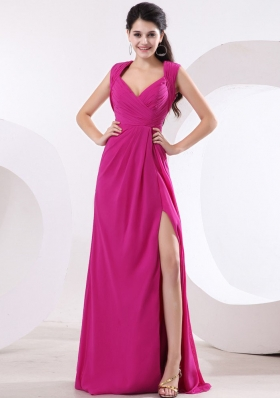 Fuchsia Ruch Brush V-neck Prom Dress High Slit