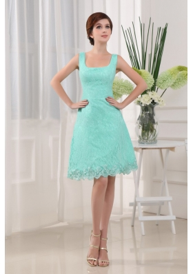 Apple Green Square Prom Dress A-Line Lace