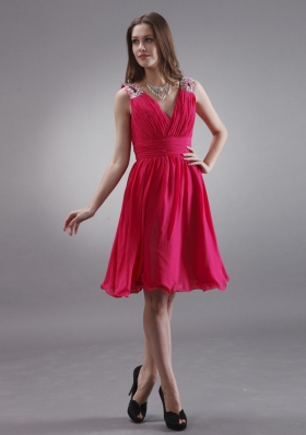 Beading Coral V-neck Bridesmaid Dresses A-line
