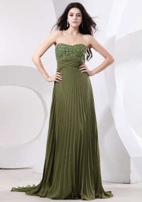 Beaded Prom Dress With Brush Olive Green Pleat