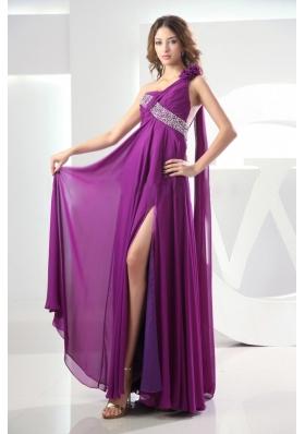 Prom Dress Fuchsia Watteau One Shoulder High Slit