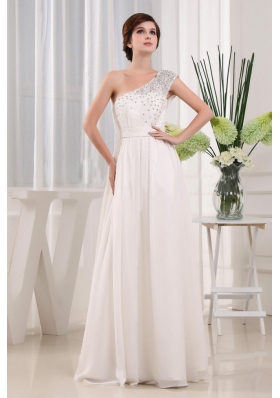 White One Shoulder Bead A-line Prom Celebrity Dress