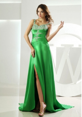 Beading Straps Spring Green Prom Dress Watteau