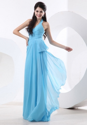 Halter Baby Blue Bridesmaid Dresses Empire Ruch