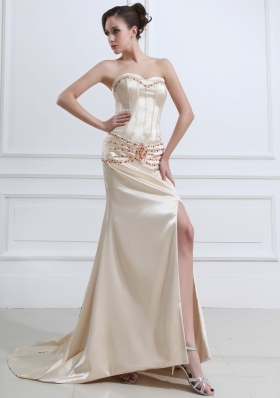 High Slit Court Prom Dress Sweetheart Champagne
