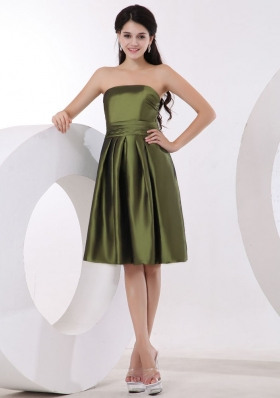 Strapless Olive Green Bridesmaid Dress Knee-length