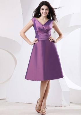 Bow Beading Purple Bridesmaid Dress V-neck A-line