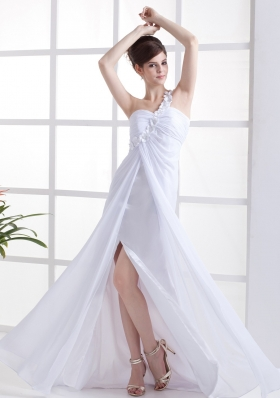 Hand Flowers Prom Dress White Slit Brush