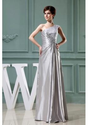 Column Prom Dress Beading One Shoulder Grey