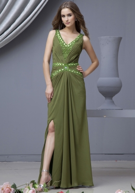 V-neck Prom Dress High Slit Olive Green Beading