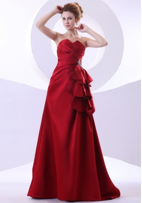 A-line Sweetheart Wine Red Prom Dress Beading