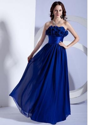 Blue Hand Flowers Empire Strapless Prom Dress
