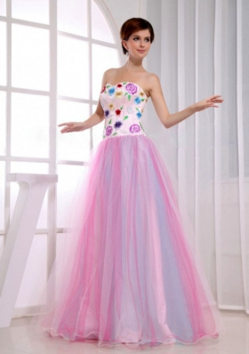 Sweetheart A-Line Prom Dress Pink Floor-length