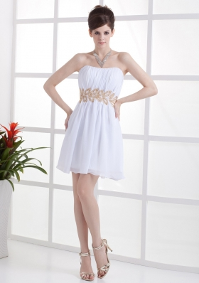 Column Beading and Ruching White Prom Dress