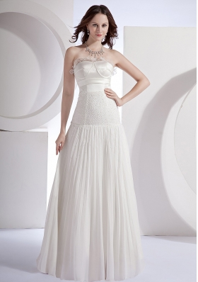 Pleat Beading Strapless Prom Dress Floor-length
