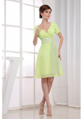 V-neck Prom Dress Yellow Green A-Line