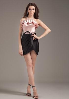 Light Pink and Black Prom Dress Column Strapless