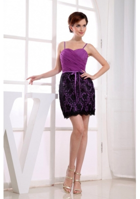Fuchsia Column Mini-length Lace Straps Prom Dress