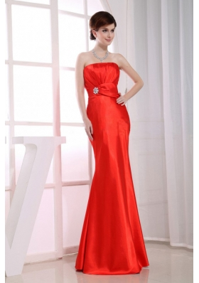 Strapless Mermaid Beading Red Prom Dress