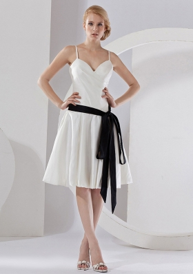 Black Sash White Bridesmaid Dresses Spaghetti Straps