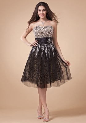 Prom Dress With Leopard and Net Beading