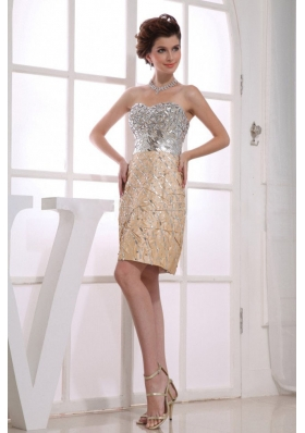 Paillette Column Sweetheart Gold Prom Nightclub Dress