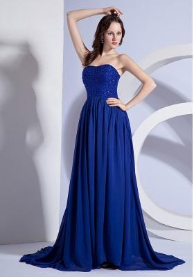 Brush Blue Prom Evening Dress Beading A-line Strapless