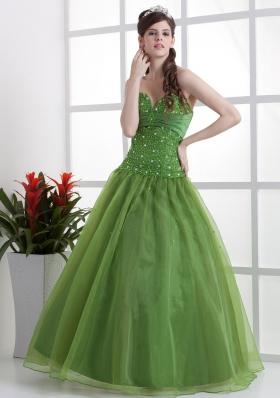 Sweetheart Olive Green Prom Dress Beaded