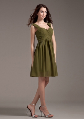 Olive Green Bridesmaid Dresses Straps Knee-length - US$97.58