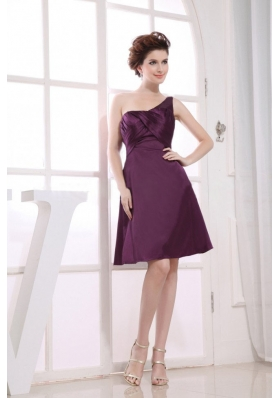 Purple Knee-length Bridesmaid Dress One Shoulder