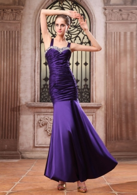 Straps Bead Ruch Purple Prom Dress Mermaid
