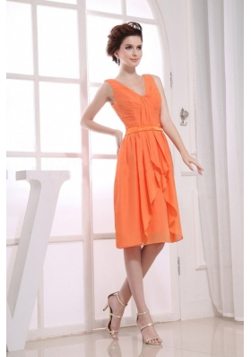 Orange Knee-length Ruching Bridesmaid Dress V-neck