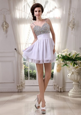 Spaghetti Straps Beaded Prom Dress Mini-length