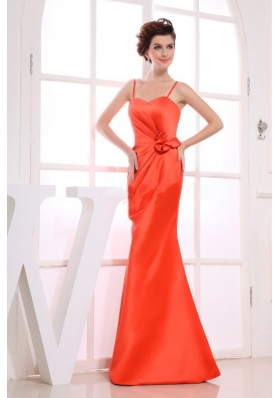 A-line Hand Flower Bridesmaid Dress Spaghetti Straps