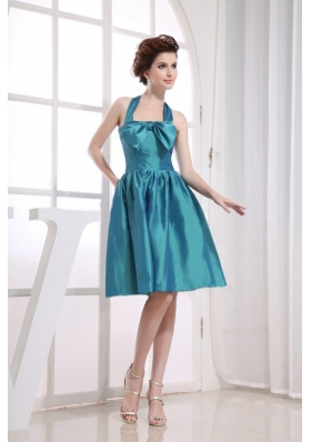 Bowknot Halter Bridesmaid Dress Teal A-line