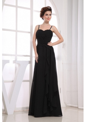 Spaghetti Straps Black Bridemaid Dress Ruching Chiffon