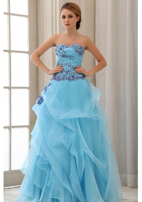 Appliques Sweetheart Aqua Blue A-line Prom Dress