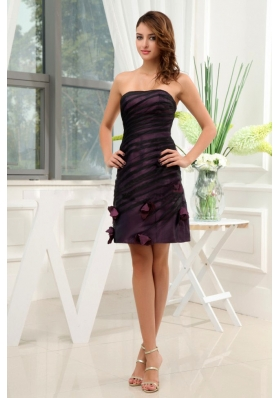 Hand Flowers Short Purple Empire Homecoming Dress