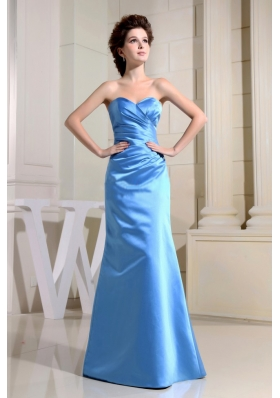 Blue Sweetheart Floor-length Satin Bridesmaid Dresses with Ruching