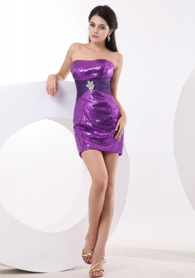 Purple Mini-length Sequin Over Skirt Prom Nightclub Gown