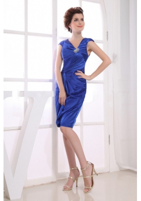 Asymmetrical Royal Blue Prom Dress V-neck Knee-length Satin