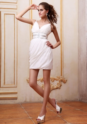 Beaded Straps Short Prom Dress Mini-length