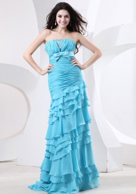 Ruffled Layers Aqua Blue Prom Gown Ruch Beading Bowknot