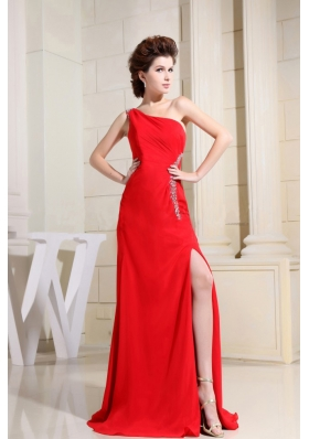 Sexy Red One Shoulder Evening Dress High Slit
