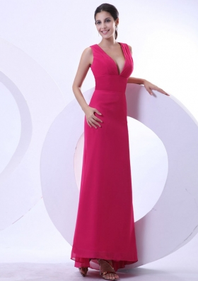 Sexy Hot Pink Prom Evening Dress V-neck Ankle-length